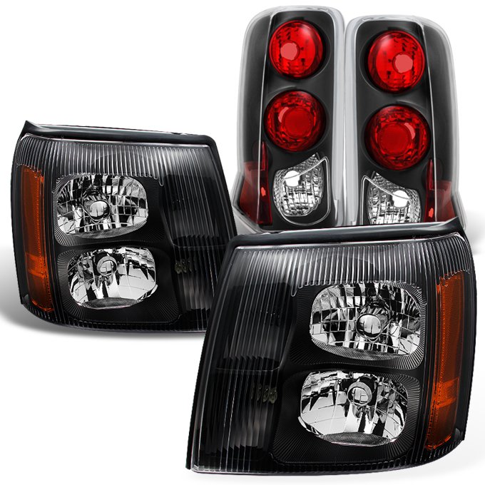 Fit 2003-2006 Cadillac Escalade HID Type Black Headlights
