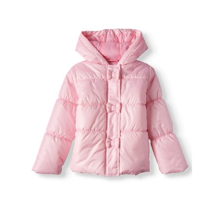 BHIP Little Girls' Bow Hooded Foiled Puffer Coat - Varsity Jackets For Little Girls