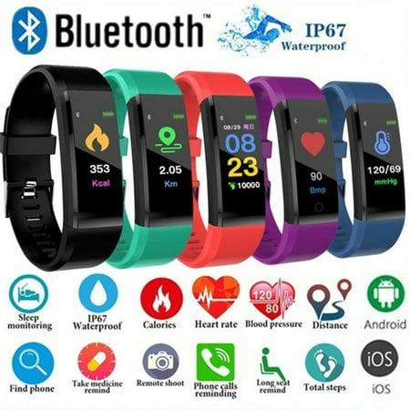 Fitness Tracker Activity Tracker Sports Watch Smart Bracelet Pedometer Fitness Watch with Heart Rate Monitor/GPS/Step Counter/Sleep Monitor Smart Wristband for Women Men and Kids ()