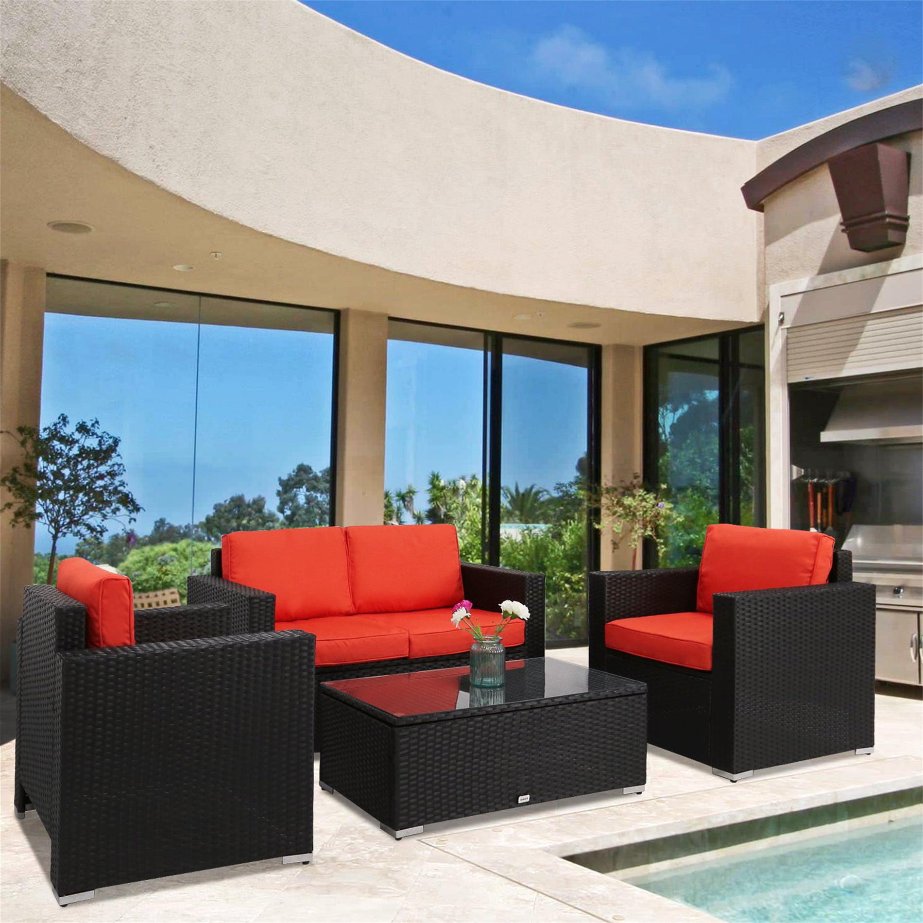 Click here to buy Kinbor 4pcs Outdoor Patio Furniture Pe Wicker Rattan Sofa Sectional Set Orange.