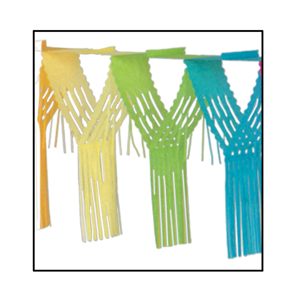 Club Pack of 12 Multi-Colored Drop Fringe Tissue Streamer Garland Party Decorations 12'