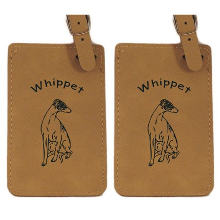 Whippet Sitting  Luggage Tag 2Pk By Gulf Coast Laser Graphics L4230