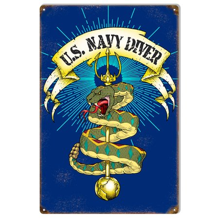 "Snake U.S. Navy Divers Metal Sign By Artist Bernard Oliver 12""x18""  CSRG9139"