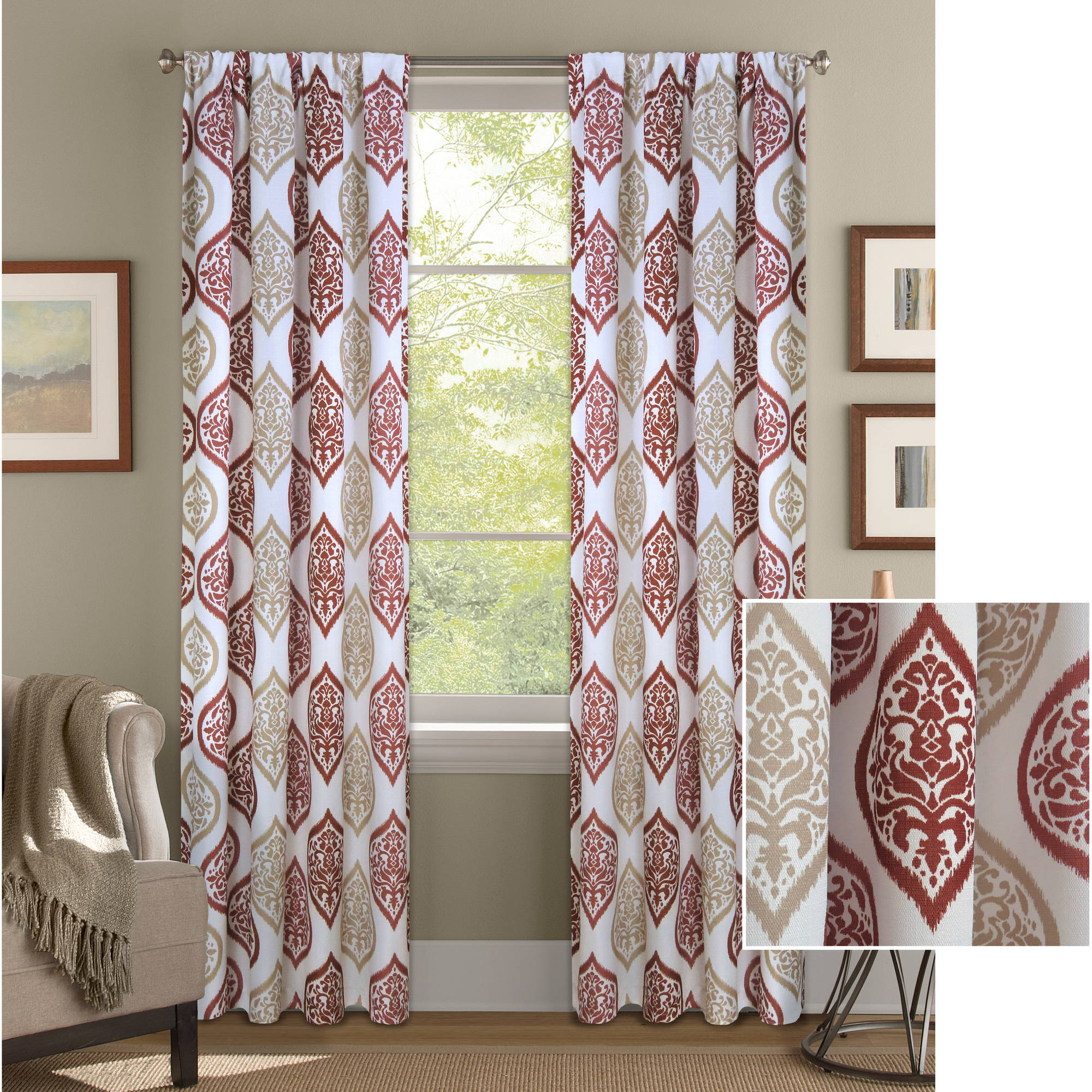 Better Homes and Gardens Damask Ogee Curtain Panel by Colordrift LLC