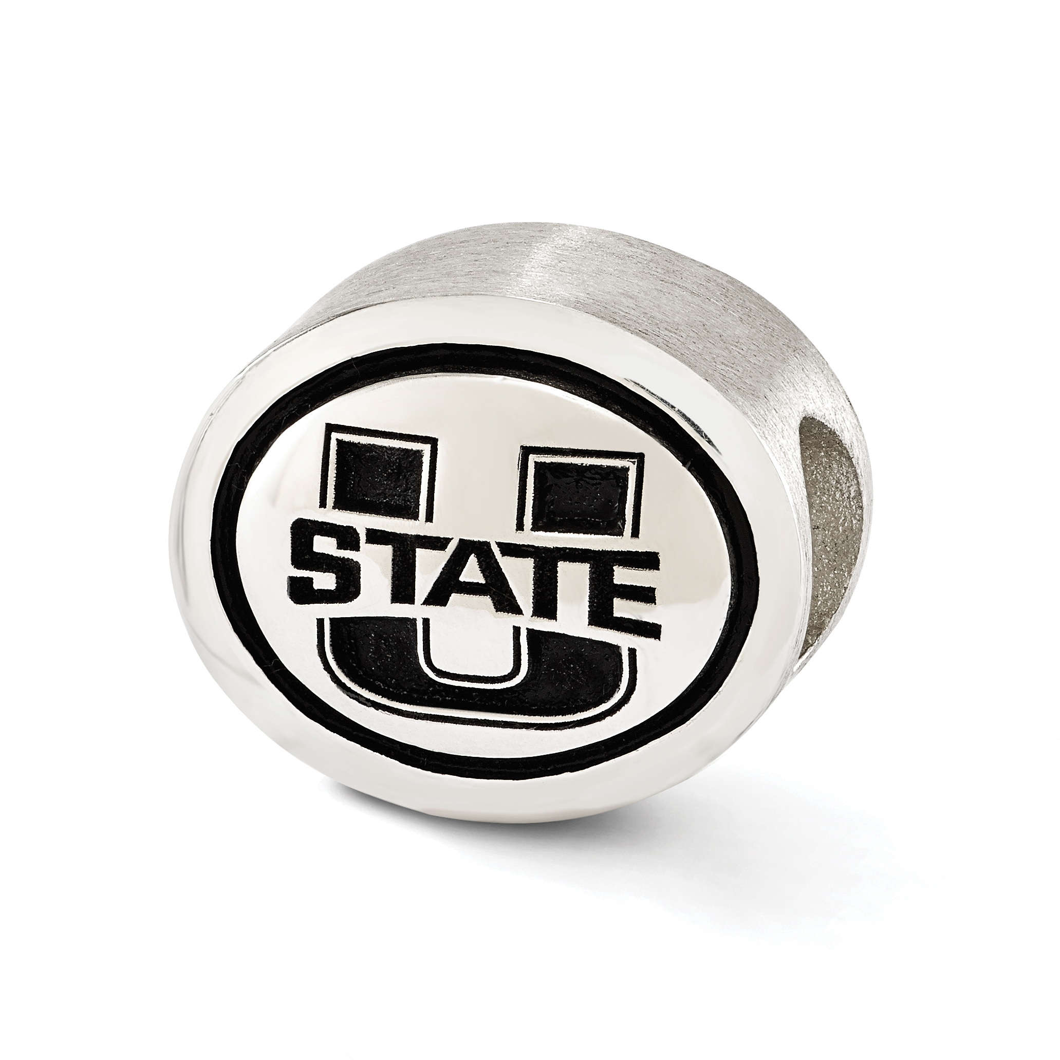Sterling Silver Antiqued Utah State University Collegiate Bead QRS3309
