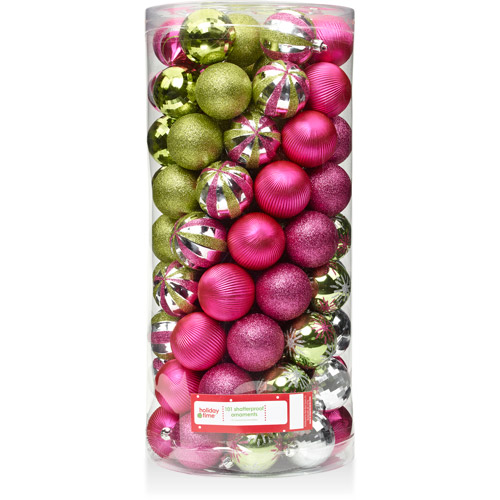 Holiday Time 60mm Traditional, Fuchsia, Green Surprise and Metallic Silver Shatterproof Christmas Ornaments, Set of 101