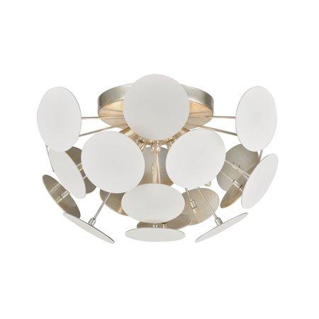 ELK Lighting Modish 4-Light Flush Mount in Matte White with White Discs