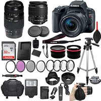 "Canon EOS Rebel SL2 DSLR Camera with Canon EF-S 18-55mm f/4-5.6 IS STM Lens + Tamron 70-300mm f/4-5.6 Di LD Lens + 2 Auxiliary Lenses + HD Filter Kit + 50"" Tripod + Premium Accessory Bundle (21 Items)"