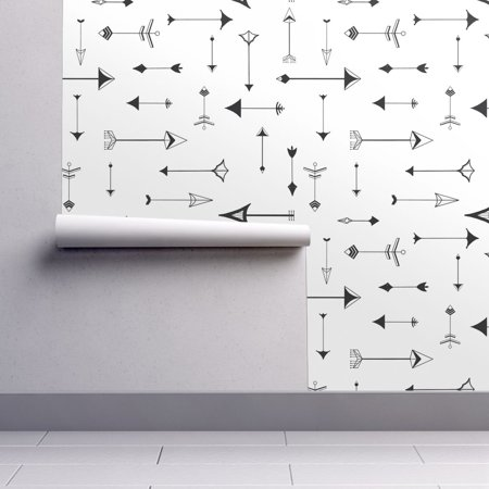 Peel-and-Stick Removable Wallpaper Black And White Geometric Cotton & Black](Wallpaper Halloween Black And White)