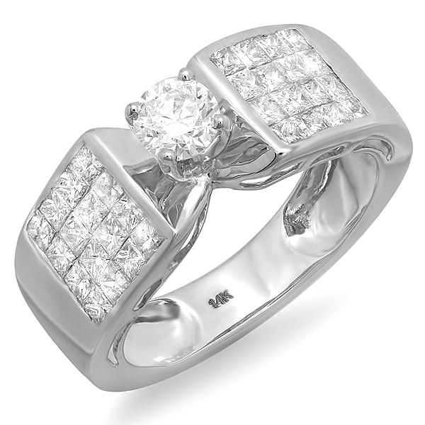 Certified 2.00 Carat (ctw) 14k White Gold Round Solitaire with Side Stones Princess Diamond Invisible Set Ladies Bridal