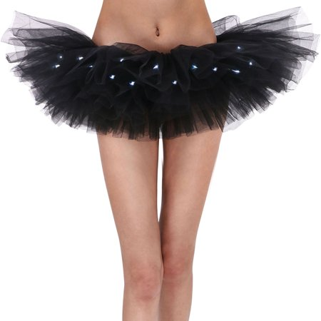Women's Classic 5 Layered LED Light Up Tutu Skirt Party Costume, - Led Light Up Costumes