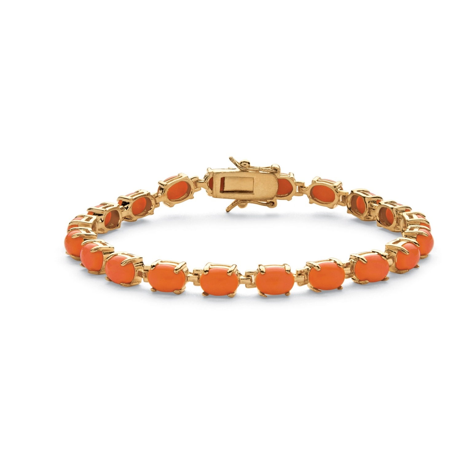 """Oval-Cut Simulated Coral Cabochon Tennis Bracelet in 14k Gold-Plated 7.5"""""""" by PalmBeach Jewelry"""
