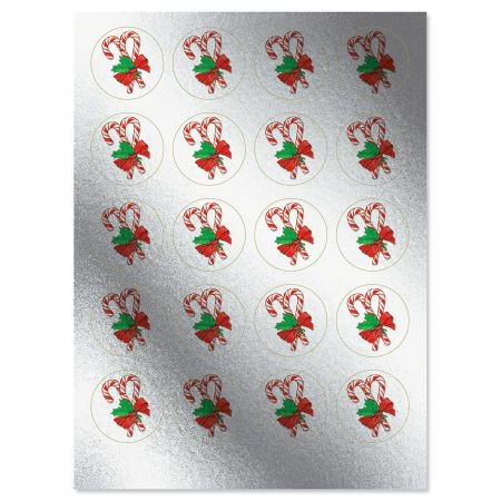 Christmas Sticker Set (Foil Candy Cane Christmas Stickers - Set of 40 metallic stickers )