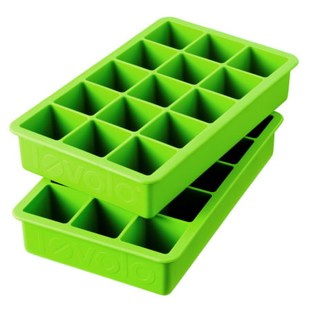 Tovolo Perfect Cube Silicone Ice Trays Set of 2, Spring Green