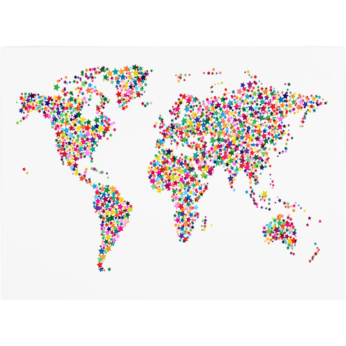 Trademark Art 'Stars World Map' Canvas Art by Michael Tompsett