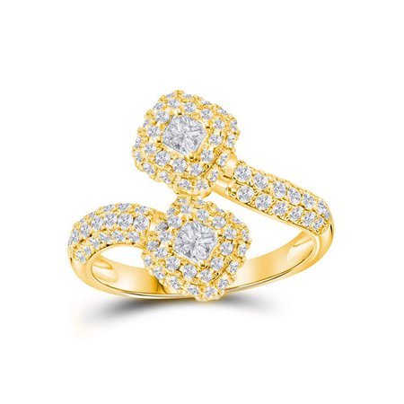 14kt Yellow Gold Womens Princess Diamond 2-stone Hearts Together Bypass Bridal Wedding Engagement Ring 1-1/2 Cttw - image 1 of 1