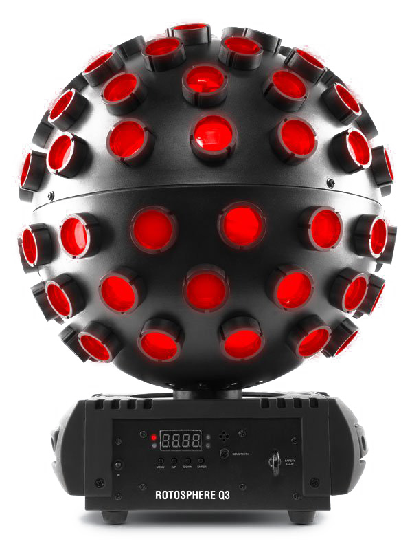Click here to buy Chauvet DJ Rotosphere Q3 Lighting Mirror Ball Effect LED RGBW Multi Beam Light.
