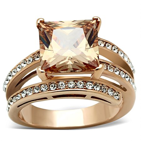 Women's Stainless Steel Rose Gold Princess Cut Champagne Zirconia Cocktail Ring Size 10 Clear Princess Cocktail Ring