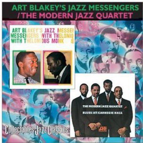Full performer name: Art Blakey's Jazz Messengers/The Modern Jazz Quartet.<BR>2 LPs on 1 CD: Art Blakey's Jazz Messengers: WITH THELONIOUS MONK (1958)/The Modern Jazz Quartet: BLUES AT CARNEGIE HALL (1967).<BR>Includes liner notes by Martin Williams and Alun Morgan.<BR>WITH THELONIOUS MONK:<BR>Art Blakey's Jazz Messengers: Art Blakey (drums); Johnny Griffin (tenor saxophone); Bill Hardman (trumpet); Spanky DeBrest (bass).<BR>Additional personnel: Thelonious Monk (piano).<BR>Originally released on Atlantic (1278).<BR>BLUES AT CARNEGIE HALL:<BR>The Modern Jazz Quartet: Milt Jackson (vibraphone); John Lewis (piano); Percy Heath (bass); Connie Kay (drums).<BR>Recorded live at Carnegie Hall, New York, New York. Originally released on Atlantic (1468).