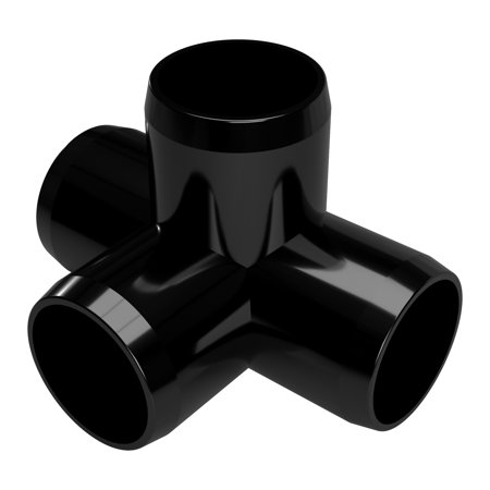 FORMUFIT F0344WT-BK-8 4-Way Tee PVC Fitting, Furniture Grade, 3/4