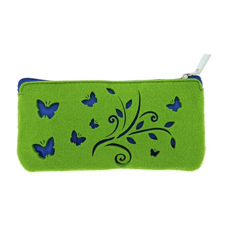 National Geographic Flyers Felt Zipper Case Pouch For Women, Green With Blue
