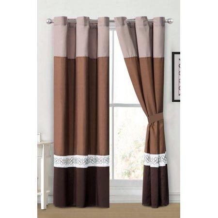 4-Pc Barb Spanish Scroll Star Diamond Embroidery Curtain Set Brown Coffee Tan Grommet Drape Sheer Liner ()