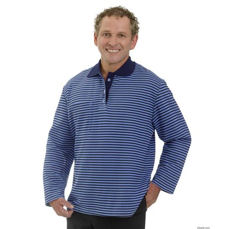 742223914 Silverts 518301301 Adaptive Long Sleeve Polo Shirt for Mens - Fits Up to 4XL  - Small  44  Blue Stripe