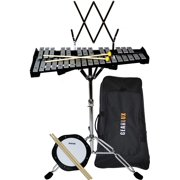 """Gearlux 32-Note Glockenspiel Bell Kit with 8"""" Practice Pad, Stand, Music Rest, Mallets, Drum Sticks, and Gig Bag"""