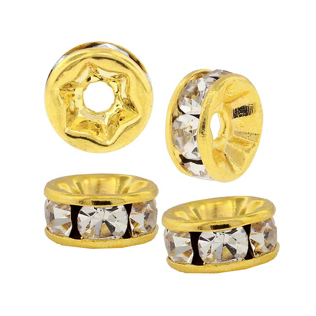 Beadelle Crystal 6mm Rondelle Spacer Beads - Gold Plated / Crystal (4 Pieces)