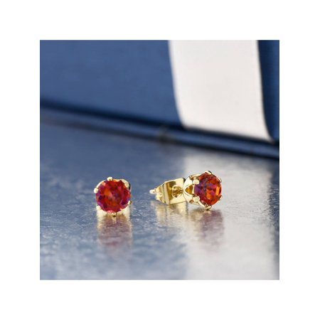 1.10 Ct Round Cut Gold Plated 5mm Mystic Twilight Topaz Stud Earrings - image 3 of 4