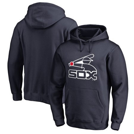 Chicago White Sox Fanatics Branded Logo Cooperstown Collection Huntington Pullover Hoodie - Navy