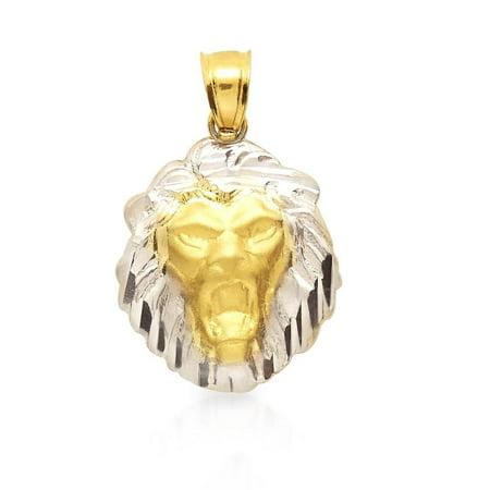 10K Yellow & White Gold Diamond Cut Lion Head Charm Pendant Lion Head Golf Club