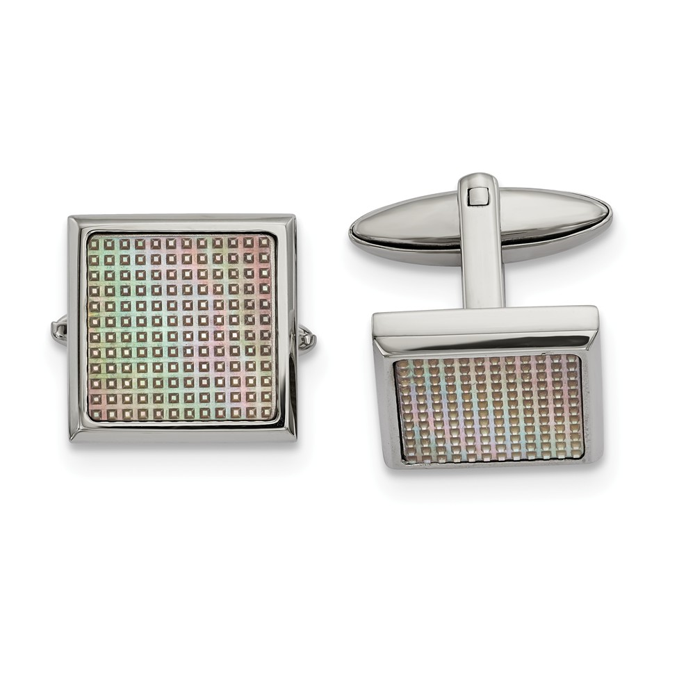 Stainless Steel Polished Rainbow Textured Square Cuff Links (19.2mm x 19.6mm)