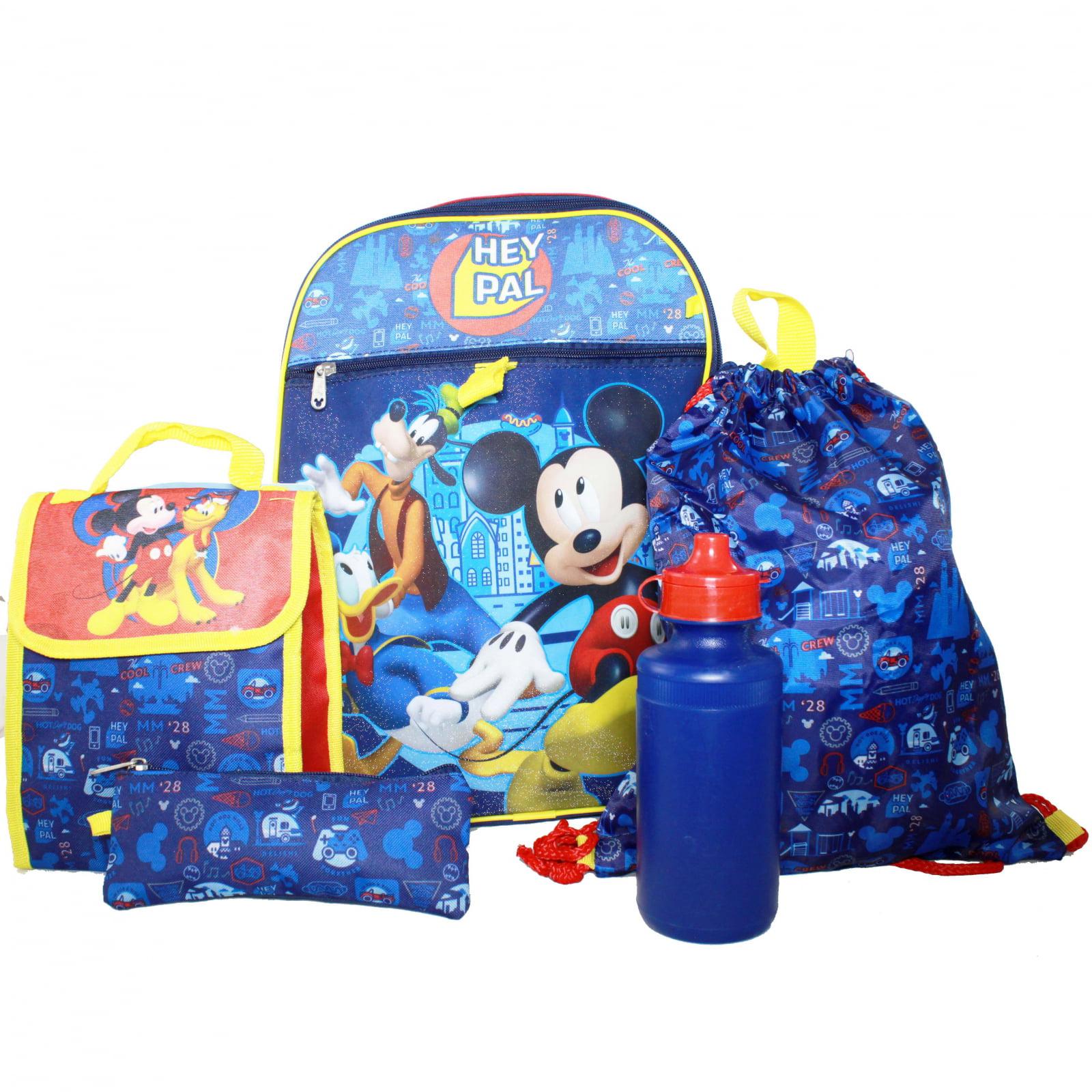 Disney Mickey Mouse Boys Backpack Set Lunch Bag Pencil Case Cinch Sack Bottle