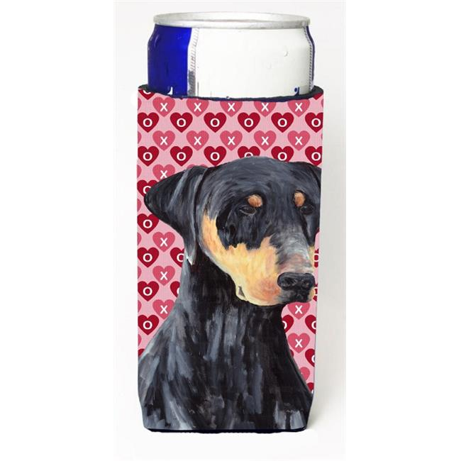 Carolines Treasures SC9262MUK Doberman Hearts Love and Valentines Day Portrait Michelob Ultra bottle sleeve for Slim Can - image 1 of 1