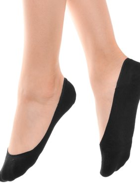 Angelina Women's Cotton Comfort Liner Socks with Silicone Heel Grip (12-Pairs)