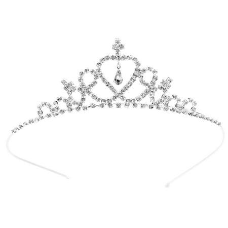 Simplicity Girls Elegant Princess Rhinestone Crystal Tiara Crown, Silver](Birthday Girl Crown)