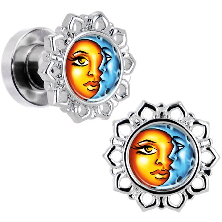 Body Candy Steel Orange Blue Celestial Sun and Moon Flower Frame Screw Fit Plug Set of 2 4 - Orange And Blue Candy