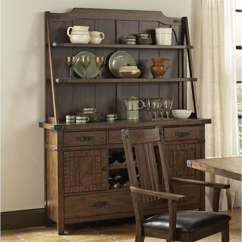 Coaster Padima Buffet and Hutch with Wine Storage in Rustic Cognac