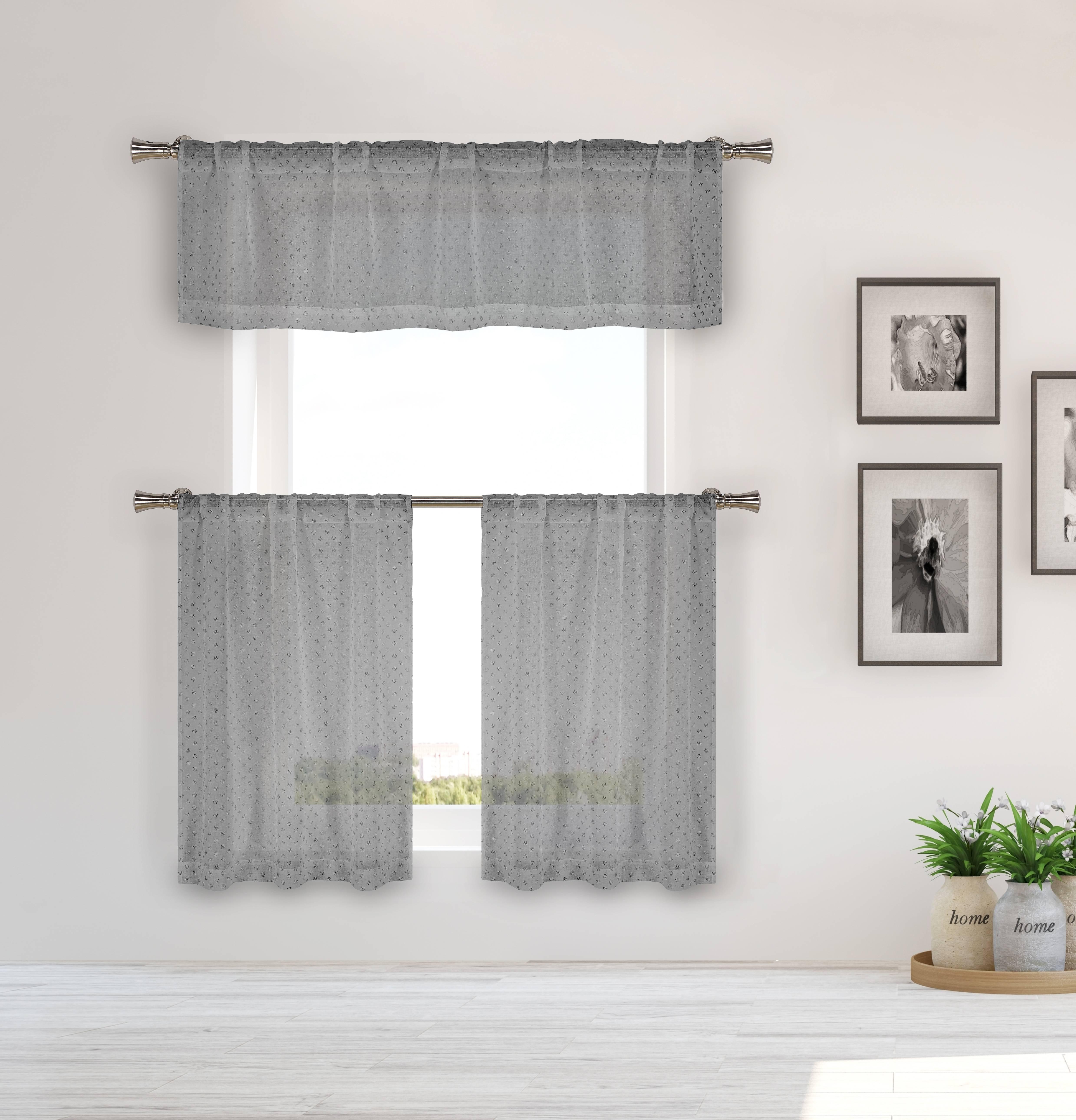 Elara 3 Piece Kitchen Curtain Set 56 in. W x 15 in. L in Silver