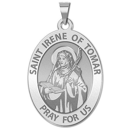 Saint Irene of Tomar OVAL Religious Medal  - 1/2 X 2/3 Inch Size of Dime, Sterling Silver