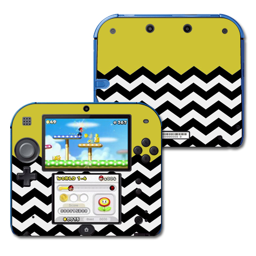 Mightyskins Protective Vinyl Skin Decal Cover for Nintendo 2DS wrap sticker skins Mustard Chevron