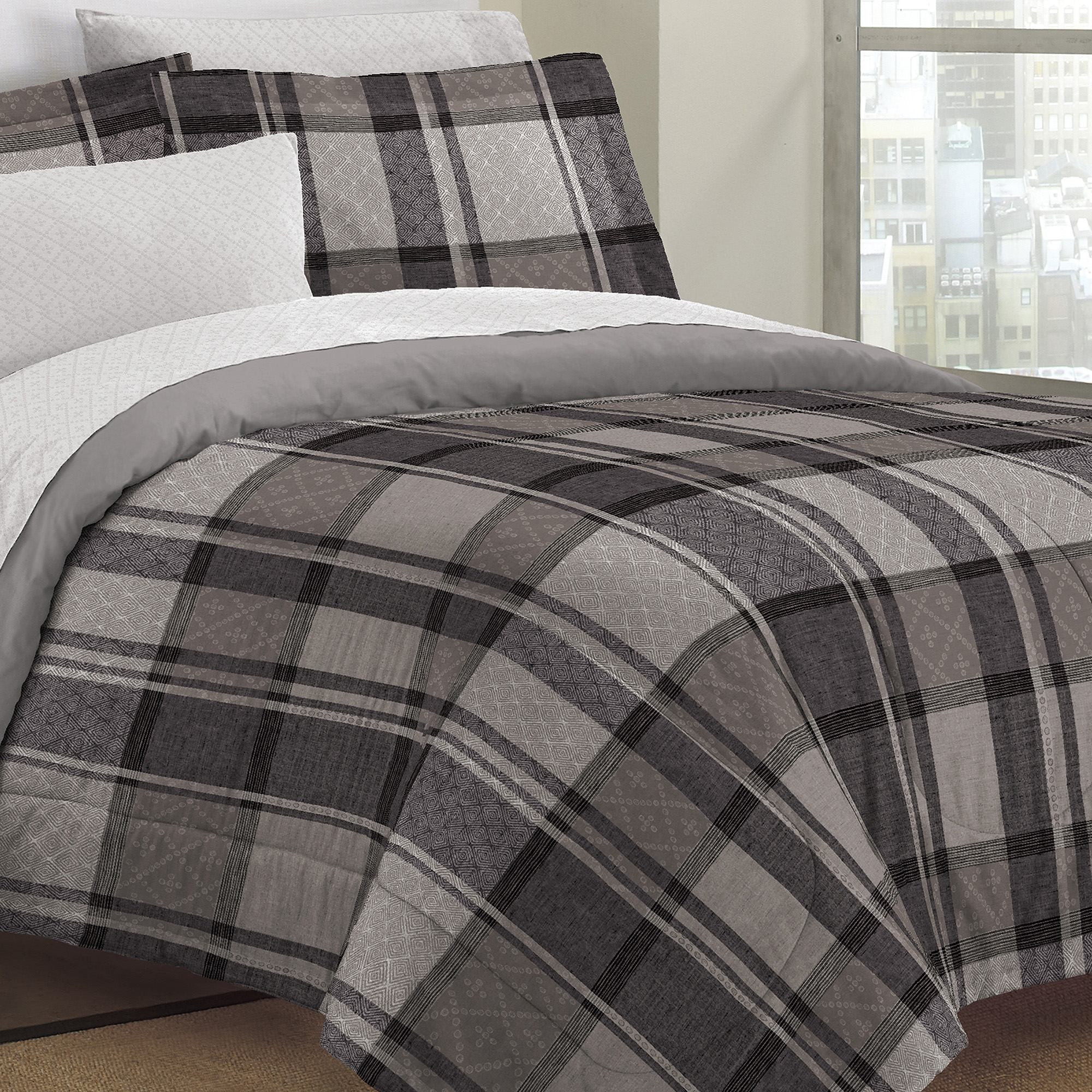 Loft Style Ultimate Plaid Bed In A Bag Bedding Set,Grey