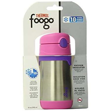 Thermos FOOGO Phases Stainless Steel Straw Bottle, Pink/Purple, 10 Ounce