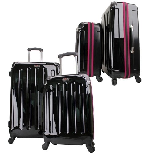 Swiss Case 4 Wheel Spinner 2 PC Luggage Set Black & Purple Hardside Suitcases