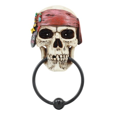 Ebros Dead Men Tell No Tales Pirate Skull With Bandana Door Knocker Figurine Pirates Of The Caribbean Seas Skeleton Door Knocker Pirates Caribbean Skeleton