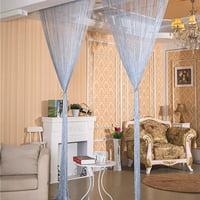 "Shiny Tassel Flash Line String Curtain, Window Door Divider Sheer Curtain Valance Home Wedding Decoration Rod Pocket Version - 39"" x 78"" (Silver)"