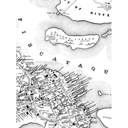 LAMINATED POSTER Badger's Island, Kittery, Mainedetail from 1850 map: City of Portsmouth. This shows Kittery, Mai Poster Print 24 x
