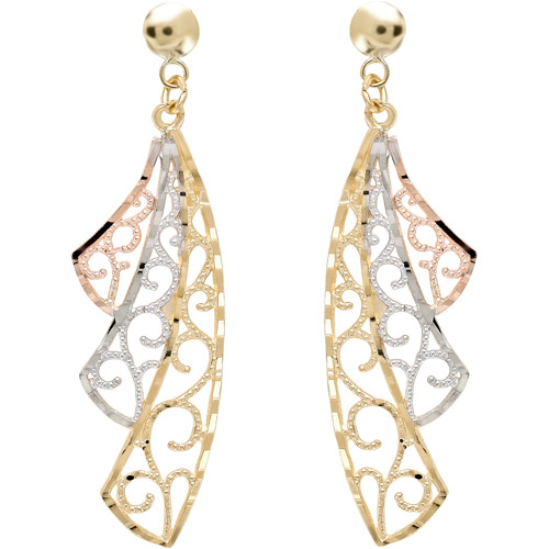 Simply Gold 10kt Yellow, White and Rose Gold Filigree Swirl Fan Earrings