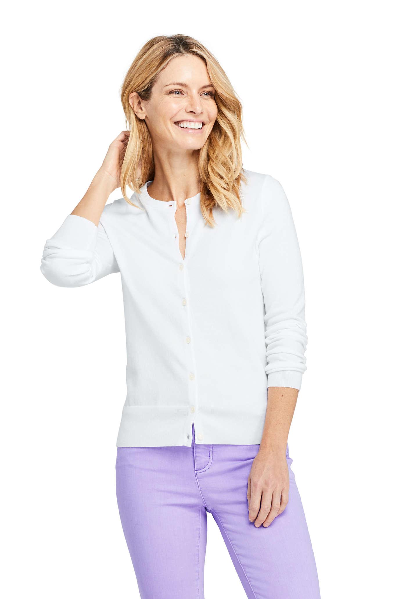 Women's Long Sleeve Supima Cotton Cardigan Sweater